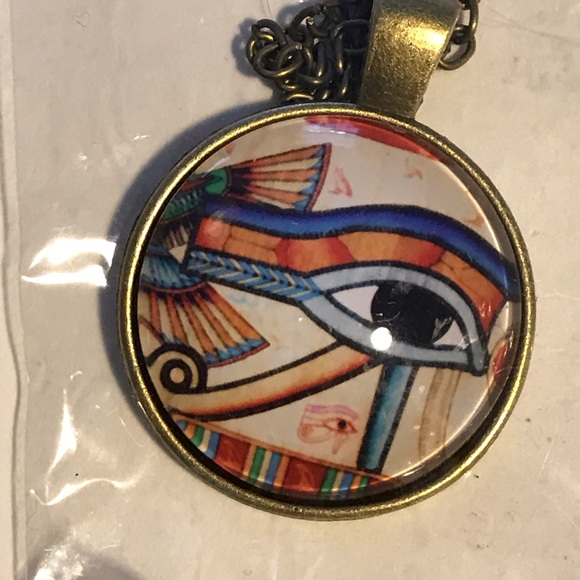 Ancient Eye Horus Glass Cabochon Pendant Necklace